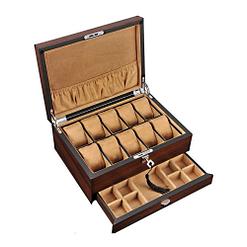 Vue de 3/4 de la boîte à bijoux pour homme (ouverte, sans bijoux)