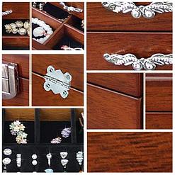 Collage de photos de détails de la boîte à bijoux en bois classique à tiroir