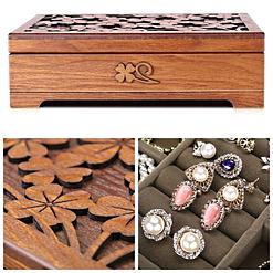 Collage de 3 photos de détails de la boîte à bijoux en bois fleurs (couvercle & compartiment)