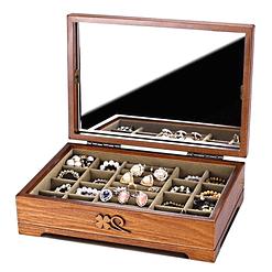 Vue de 3/4 de la boîte à bijoux en bois fleurs (ouverte)