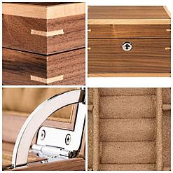 Collage de 4 photos de détails de la boîte à bijoux en bois 'grand cube'