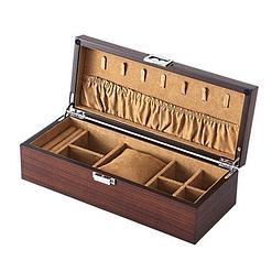 Vue de 3/4 de la boîte à bijoux en rectangulaire (ouverte)