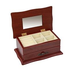 Vue de 3/4 de la boîte à bijoux en bois sarcophage à tiroir (plateau supérieur)