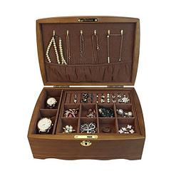 Vue de 3/4 de la boîte à bijoux en bois 'vintage marron' (ouverte)