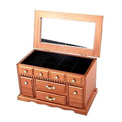 Vue de 3/4 de la boîte à bijoux en bois double porte-bagues (couvercle ouvert)