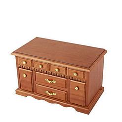 Vue de 3/4 de la boîte à bijoux en bois double porte-bagues (fermée)
