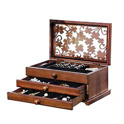 Vue de 3/4 de la boîte à bijoux en bois 2 tiroirs et fleurs (ouverte)