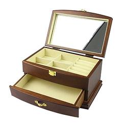 Vue de 3/4 de la boîte à bijoux en bois élégante (ouverte)