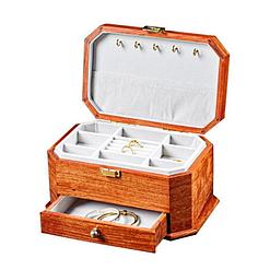 Vue de 3/4 boîte à bijoux en bois 'émeraude', ouverte