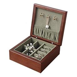 Petite boîte à bijoux en bois carrée (ouverte)