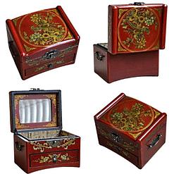 Collage de 4 photos détaillant la boîte à bijoux originale à tiroir sous tous les angles (couvercle, ouverte...)