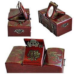 Collage de 3 photos de différentes vues de la boîte à bijoux originale 'commode' (couvercle...)
