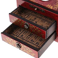 Zoom sur les compartiments de la boîte à bijoux originale miroir et tiroirs