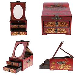 4 photos supplémentaires de la boîte à bijoux originale miroir et tiroirs (face, profil et 3/4)