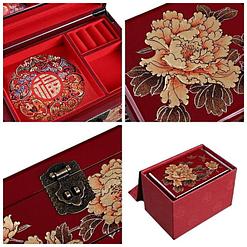Collage de 4 photos de détails de la boîte à bijoux originale 'pivoines dorées'