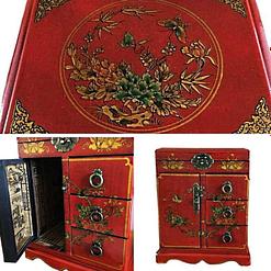 Collage de 3 photos des détails de la boîte à bijoux originale porte et tiroirs