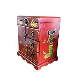 Vue de 3/4 de la boîte à bijoux originale porte et tiroirs (fermée)