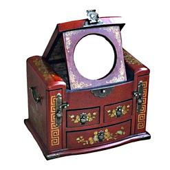 Vue de 3/4 de la boîte à bijoux originale à tiroirs verticaux (miroir déployé)