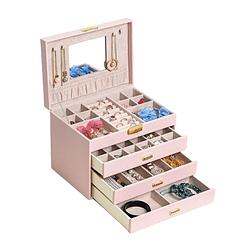 Vue de 3/4 de la grande boîte à bijoux en cuir rose à 3 tiroirs (ouverte)