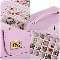 Collage de 4 photos présentant les détails (compartiments, poignée..) de face de la grande boîte à bijoux en cuir rose à portes