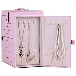 Vue de côté de la grande boîte à bijoux en cuir rose à portes (porte latérale ouverte)