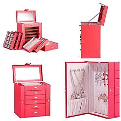 Collage de 4 photos présentant les différentes vues de la grande boîte à bijoux en cuir rouge à 5 tiroirs