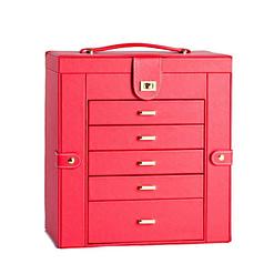 Vue de 3/4 de la grande boîte à bijoux en cuir rouge à 5 tiroirs (fermée)