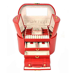 Vue de face de la grande boîte à bijoux en cuir rouge ovale (ouverte)