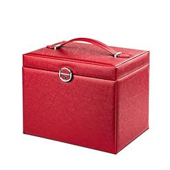 Vue de 3/4 de la grande boîte à bijoux en cuir rouge à portes (fermée)