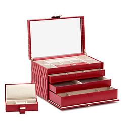 Vue de 3/4 de la grande boîte à bijoux en cuir rouge matelassée (ouverte)