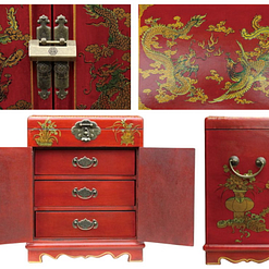 Collage de 4 photos de détails de l'armoire à bijoux originale
