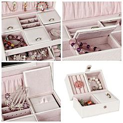 Collage de 4 photos de détails de la boîte à bijoux en cuir blanc 3 tiroirs et étui (compartiments supérieurs)