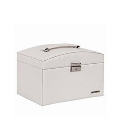 Vue de 3/4 de la boîte à bijoux en cuir blanc 3 tiroirs et étui (fermée)