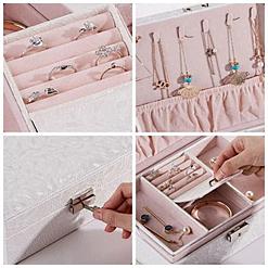 Collage de 4 photos de détails de la boîte à bijoux en cuir blanc à double fond