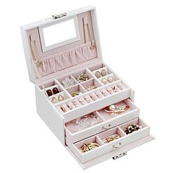 Vue de 3/4 de la boîte à bijoux en cuir blanc à double tiroir (ouverte)