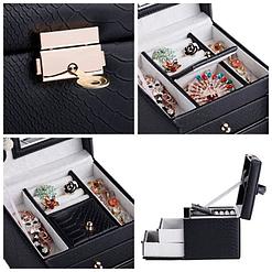 Collage de 4 photos de détails de la boîte à bijoux en cuir à double tiroirs (compartiments supérieurs)