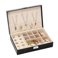 Vue de 3/4 de la boîte à bijoux en cuir 'mallette' (ouverte avec bijoux)