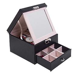 Vue de 3/4 de la boîte à bijoux en cuir 'petit modèle' (ouverte avec miroir déployé)