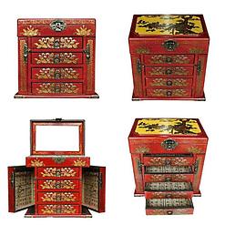 Collage de 4 photos de différentes vues de la boîte à bijoux originale rouge à 4 tiroirs (avec compartiments et tiroirs ouverts)