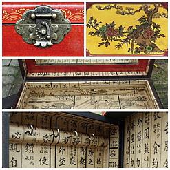 Collage de 4 photos de détails de la boîte à bijoux originale rouge à 4 tiroirs (fermoir, plateau supérieur, couvercle et porte latérale)