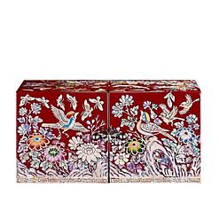 Vue de face de la boîte à bijoux originale rouge papillons et mésanges