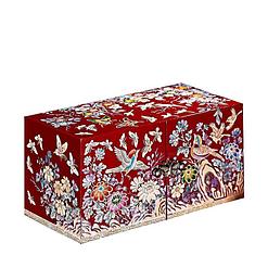 Vue de 3/4 de la boîte à bijoux originale rouge papillons et mésanges