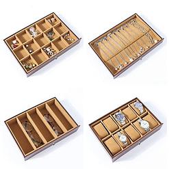 Collage des photos des 4 derniers tiroirs de la grande boîte à bijoux 8 étages en cuir marron