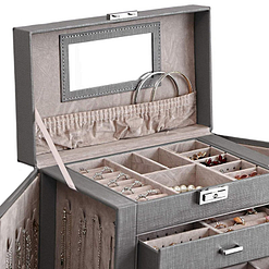 Plateau supérieur de la grande boîte à bijoux en cuir à 5 tiroirs gris