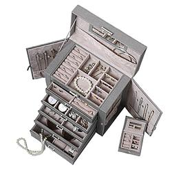 Vue aérienne de la grande boîte à bijoux en cuir à 5 tiroirs gris (ouverte)