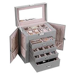 Vue de 3/4 de la grande boîte à bijoux en cuir à 4 tiroirs gris (ouverte)