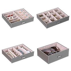 Vue des rangements de la grande boîte à bijoux en cuir gris à 4 tiroirs