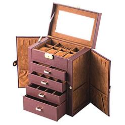 Vue de 3/4 de la grande boîte à bijoux en cuir marron à 4 tiroirs (ouverte, sans bijoux)