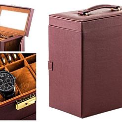 Collage de photos de détails de la grande boîte à bijoux en cuir marron à 4 tiroirs