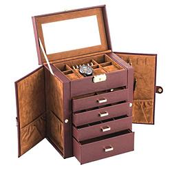 Vue de 3/4 de la grande boîte à bijoux en cuir marron à 4 tiroirs (ouverte)